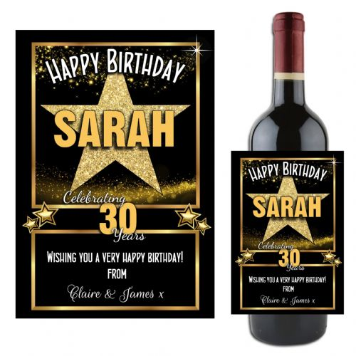 Personalised Gold Star Happy Birthday Wine / Champagne Bottle Label N115 - Any Age